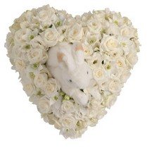 White Rose and Orchid Heart with Rabbit