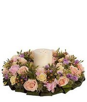 Pastel Wreath and Candle